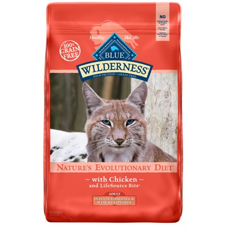 Blue Buffalo Wilderness High Protein Grain Free, Natural Adult Indoor Hairball & Weight Control Dry Cat Food, Chicken, 9.5-lb