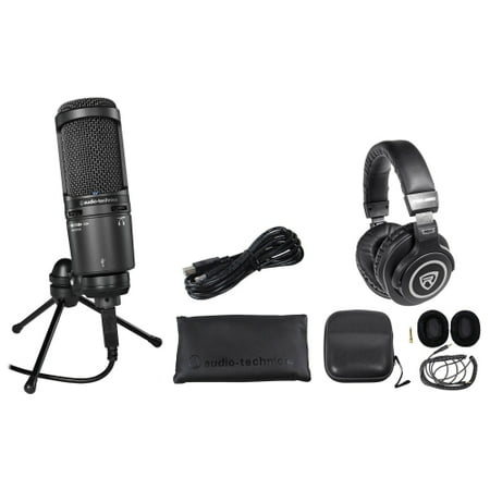 audio technica at2020usb podcast podcasting microphone headphones stand. Black Bedroom Furniture Sets. Home Design Ideas