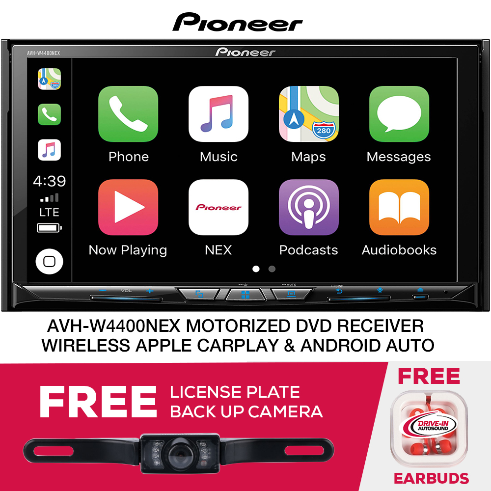 """Pioneer AVH-W4400NEX DVD/CD Receiver with AM/FM tuner, detachable 7"""" motorized touchscreen wired or wireless Apple CarPlay and Android Auto and free license plate camera"""