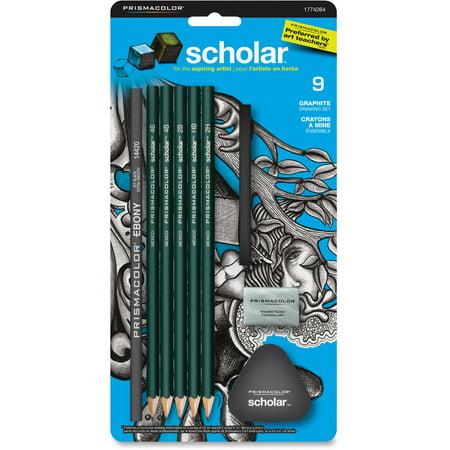 Prismacolor Scholar Erasable Colored Pencil Set, Assorted Leads, 2 Mm, 9/Set