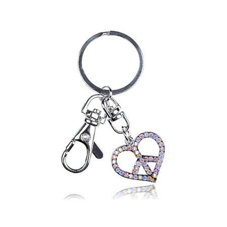 Cute Heart Aurora Borealis Crystal Rhinestone Peace Symbol Clip Loop - Cute Keychains