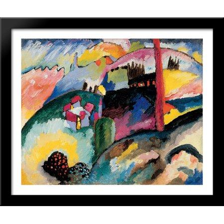 Wood Chimney - Landscape with factory chimney 34x28 Large Black Wood Framed Print Art by Wassily Kandinsky