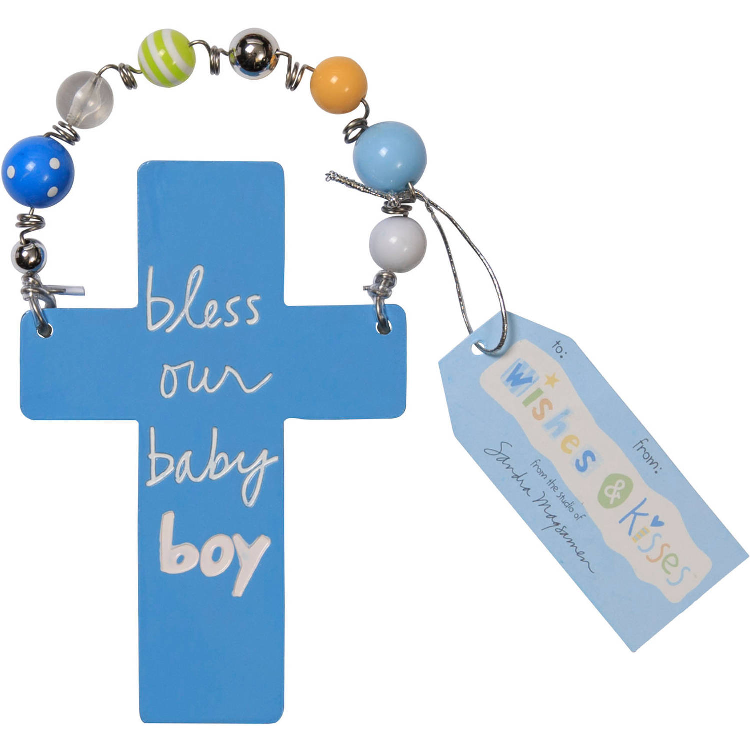 """Wishes and Kisses"" by Sandra Magsamen Newborn Boy Cross Plaque"