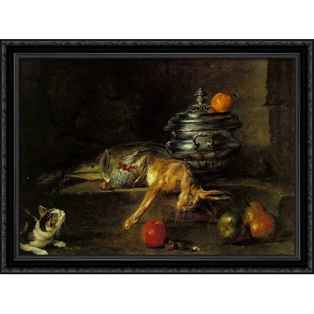 - The Silver Tureen 38x28 Large Black Ornate Wood Framed Canvas Art by Jean-Baptiste-Simeon Chardin