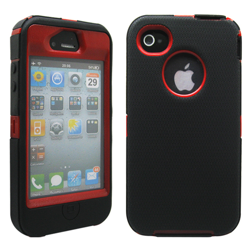 Black & Red Three Layer Silicone PC Heavy Duty Rugged Protective Case Cover for iPhone 4 4G 4S