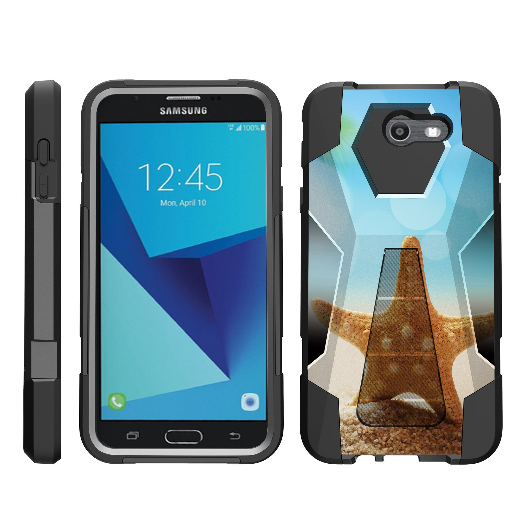 TurtleArmor ® | For Samsung Galaxy J7 | J7 V | J7 Perx | J7 Sky Pro | J7 Prime | Halo [Dynamic Shell] Dual Layer Hybrid Silicone Hard Shell Kickstand Case - Standing Starfish