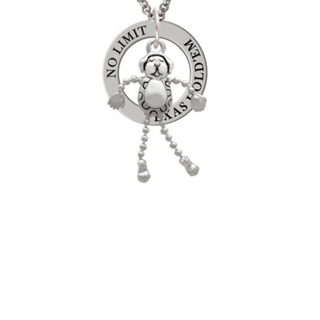 Dog With 4 Dangle Legs Texas Holdem Affirmation Ring Necklace