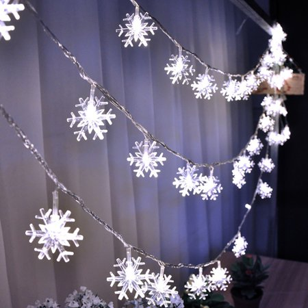 Justdolife Christmas String Light Battery Powered Snowflake LED String Light Fairy Light Outdoor Indoor Decor Light for Home Bedroom Dorm Patio Christmas Halloween Birthday Party Decor - Halloween Indoor Decor