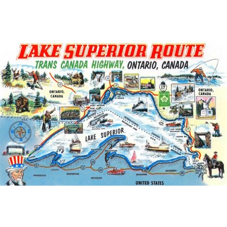 A Fun Map Created For Tourism Taking Visitors On The Lake Superior Route On The Trans Canada Highway In Ontario  Pictures Show All The Activities One Can Do From Fishing And Hunting To Visiting Histor