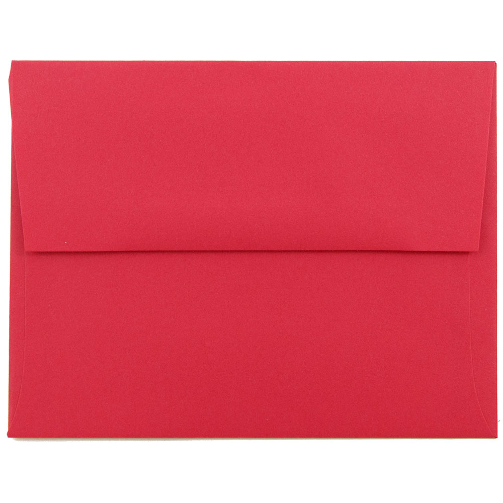 JAM Paper A2 Invitation Envelope, 4 3/8 x 5 3/4, Brite Hue Christmas Red Recycled, 1000/carton image