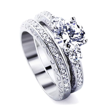 Dainty Jewelry Men S Sterling Silver 1 5ct Round Cz Wedding Ring Set 2pcs Engagement Ring Bridal Set Size 5 To 9 Walmart Com