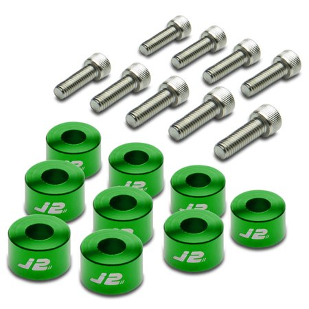 Pack of 9 - J2 Engineering Aluminum Header Exhaust Manifold Cup Washer+Bolt Kit (Green) - Honda/Acura