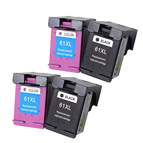 4 Pack High Yield Cartridges Includes: 2 HP 61XL Black, & 2 HP 61XL Color