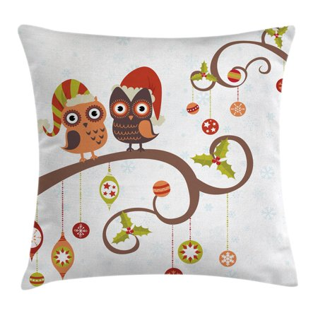 Christmas Decorations Throw Pillow Cushion Cover, Owls on Decorated Twiggy Tree Branches Annual Yule Noel Christmas Themed, Decorative Square Accent Pillow Case, 16 X 16 Inches, Multi, by Ambesonne
