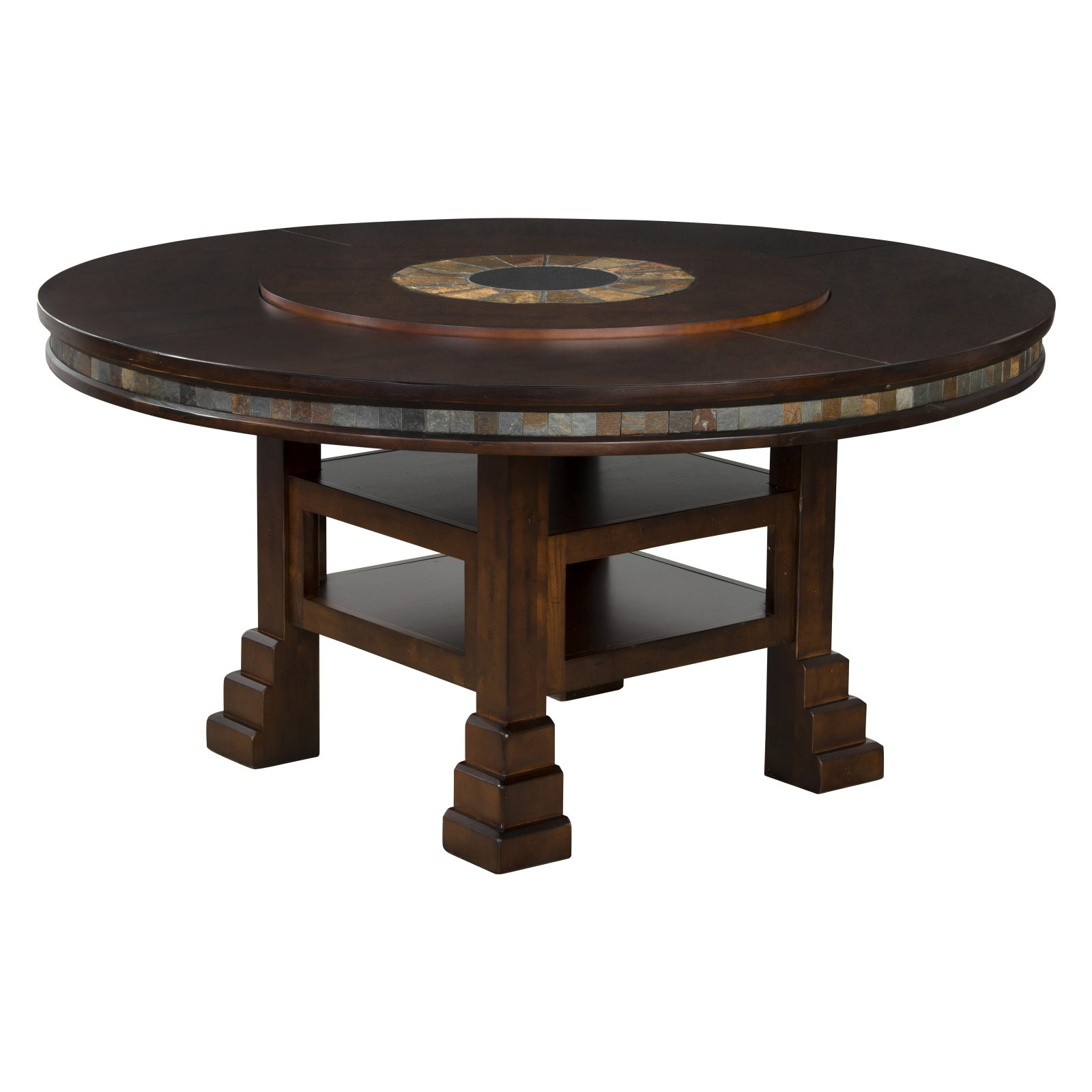 Sunny Designs Santa Fe Adjustable Round Dining Table With Lazy Susan