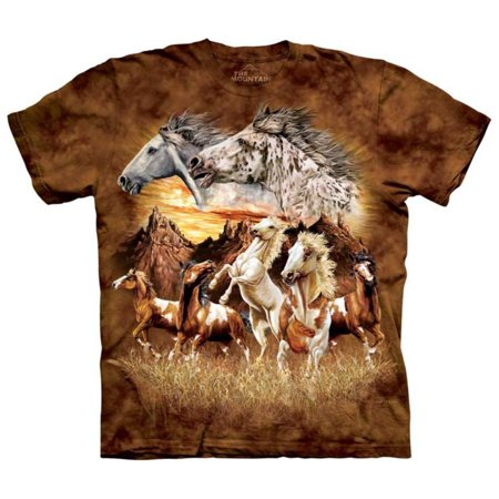 Horse Band T-shirt (Orange 100% Cotton Find 15 Horses Realistic Graphic T-Shirt)