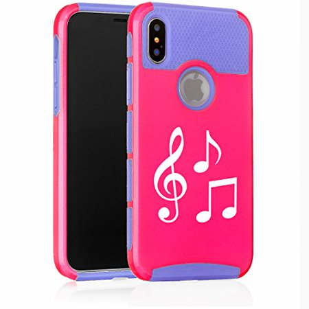 For Apple (iPhone X) Shockproof Impact Hard Soft Case Cover Music Notes (Hot Pink-Blue) - Music Note Hat