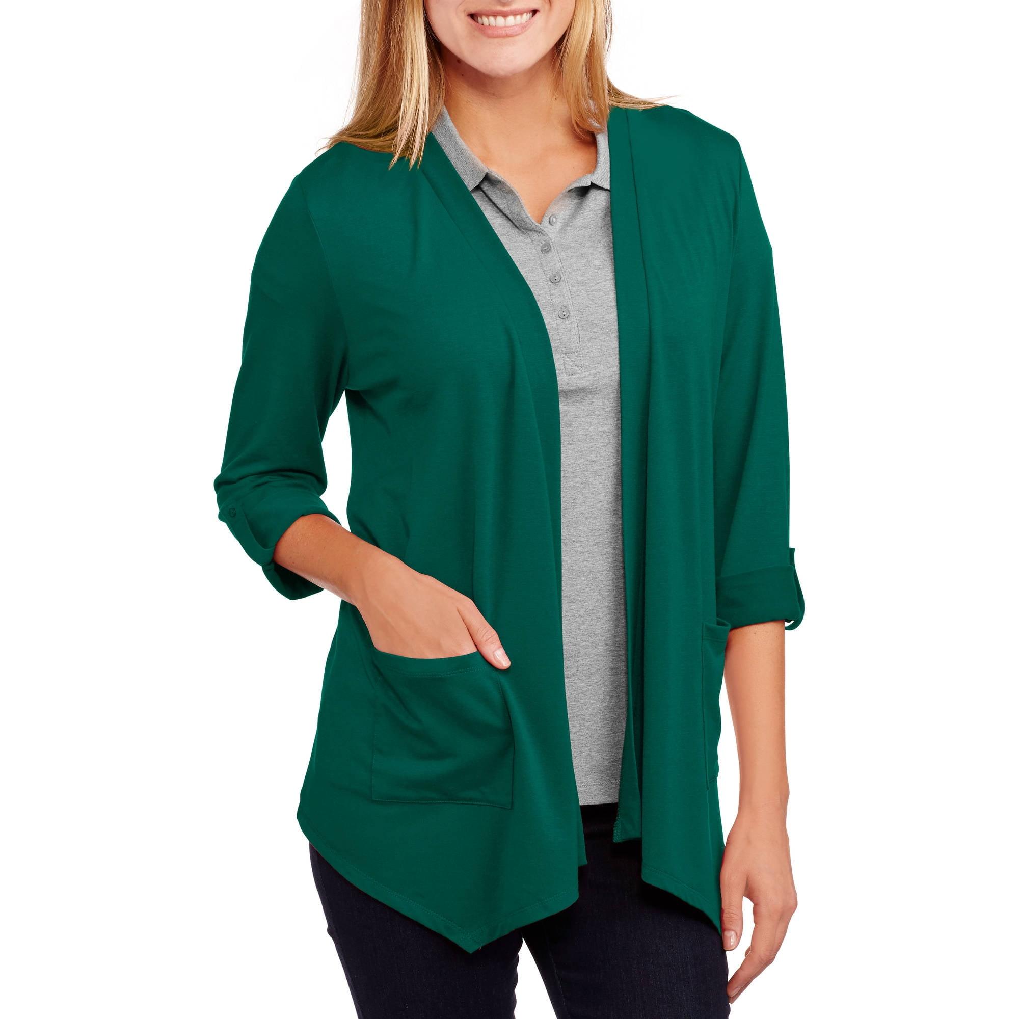 Faded Glory Women S 2 Pocket Cardigan Sweater Walmart Com