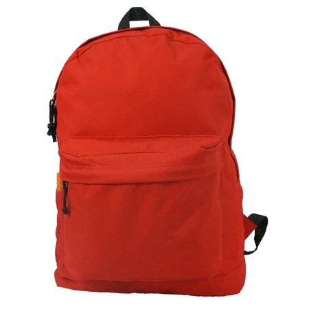 Classic Bookbag Basic Backpack Simple School Book Bag Casual Student Daily Daypack 18 Inch with Curved Shoulder Straps Red (Orange Backpack)