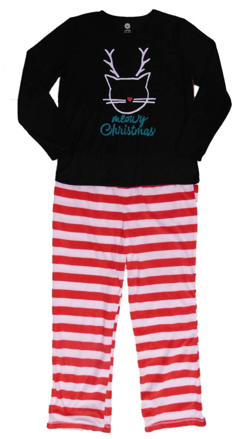 Total Girl Santa Dog Bad Hair Day Holiday Pajama 2 Piece Sleep Set PJs Small