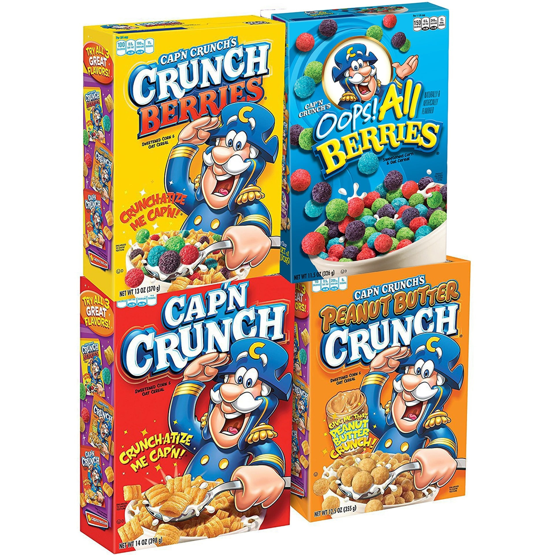 Cap N Crunch Breakfast Cereal Variety Pack 4 Boxes 1 Original 1 Oops All Berries 1 Crunch Berries 1 Peanut Butter Crunch Walmart Com Walmart Com You'd need to walk 36 minutes to burn 130 calories. cap n crunch breakfast cereal variety pack 4 boxes 1 original 1 oops all berries 1 crunch berries 1 peanut butter crunch walmart com
