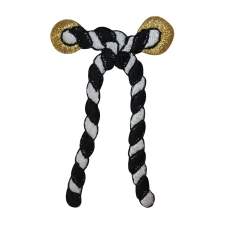 ID 2687C Striped Nautical Rope Patch Cord Knot Tie Embroidered Iron On Applique - Nautical Tie