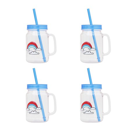 Mainstays Kids 4-Pack 18 ounce Melamine Mugs with Straw and Lid, Multiple Prints