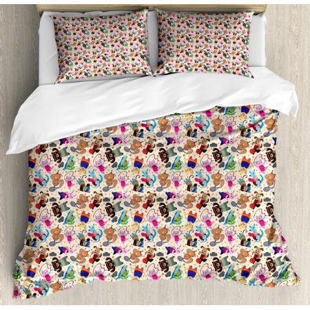 kids sports queen size duvet cover set animal bunny. Black Bedroom Furniture Sets. Home Design Ideas