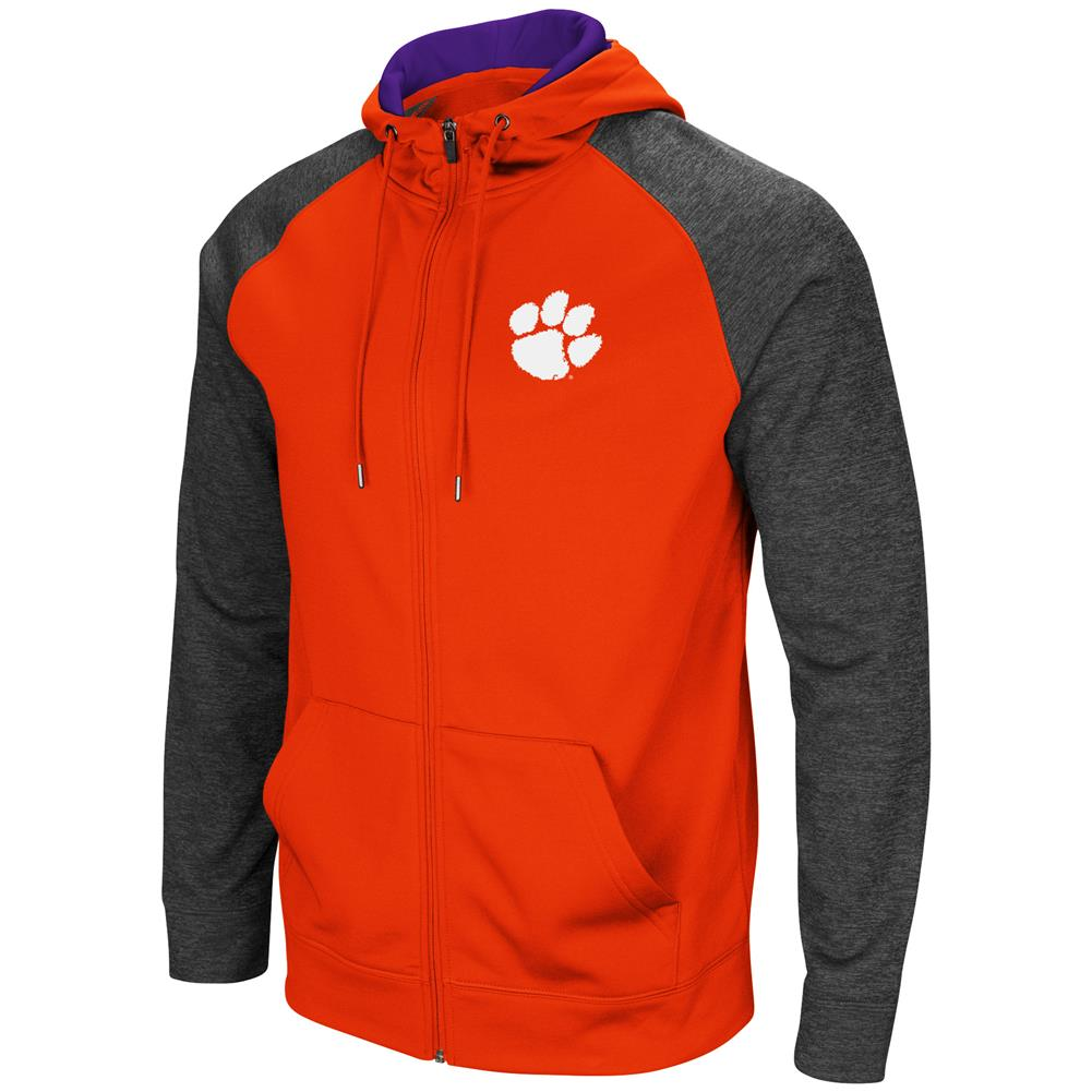 Clemson University Tigers Men's Full ZipHoodie Fleece Jacket by Colosseum