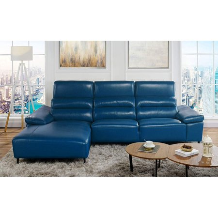 Leather Match Sectional Sofa L Shape Couch With Chaise Lounge Left Chaise Navy Blue