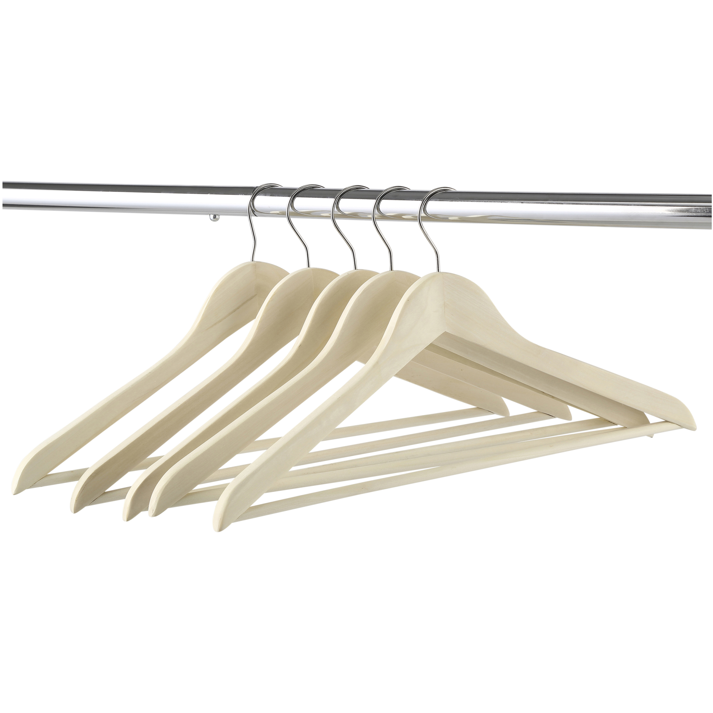 Mainstays Wood Suit Hangers, 5-Pack, Durable Construction