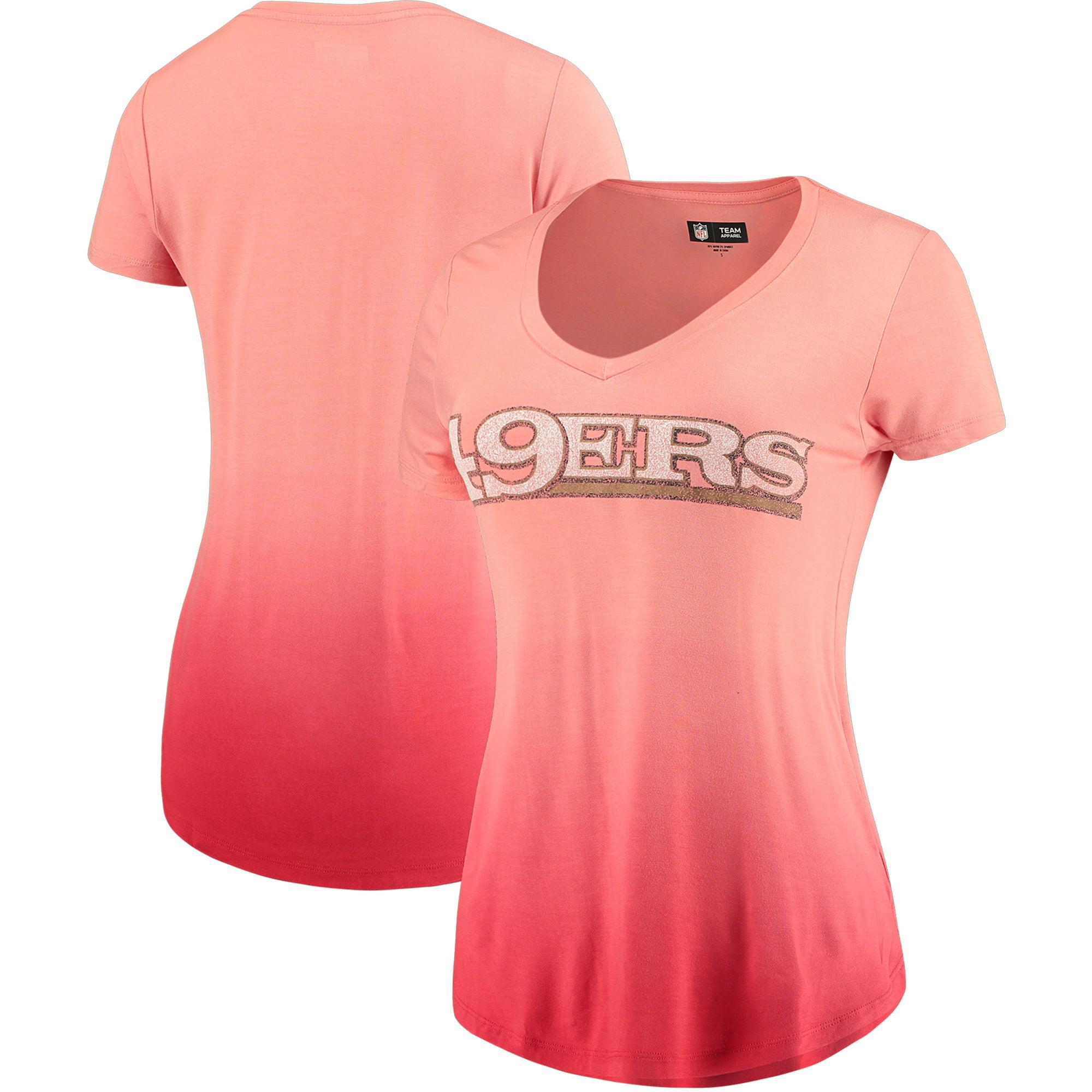 San Francisco 49ers 5th & Ocean by New Era Women's Dip Dye V-Neck T-Shirt - Scarlet