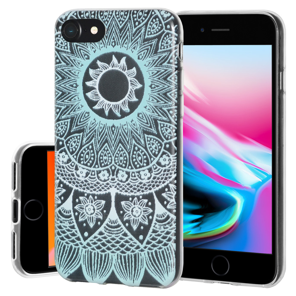 iPhone 8 Case, Soft Gel Skin TPU Cover Fashion Style Slim Designer Clear Back Cover - Mandala Turquoise for iPhone 8 , Semi transparent, Flexible, Added Grip