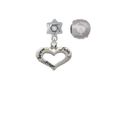 Silvertone Heart with 3 AB Crystals - Believe Faith Prayer Happy Hanukkah Charm Beads (Set of - Hanukah Prayer