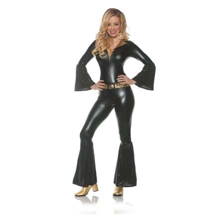 Foxy Lady Womens Adult Black 70S Disco Diva Costume Jumpsuit - 70s Jumpsuits