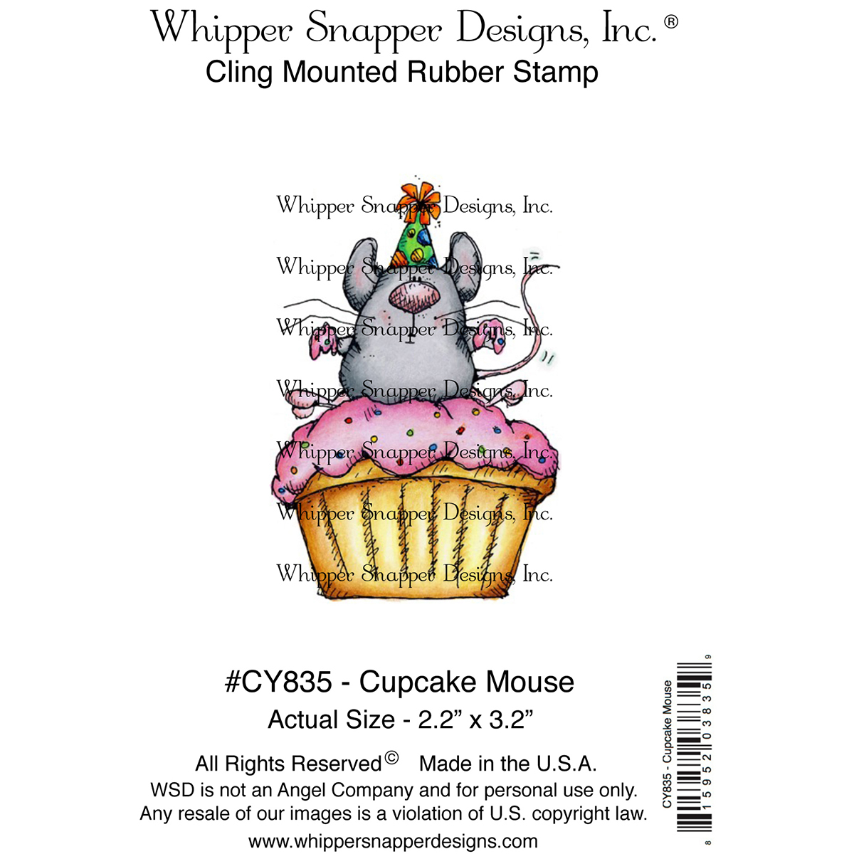 """Whipper Snapper Designs CY835 Whipper Snapper Cling Stamp 4""""X6"""" - Cupcake Mouse"""