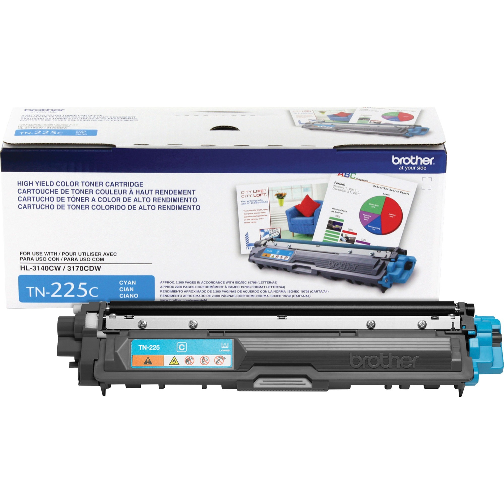 Brother TN225C High-Yield Toner, Cyan