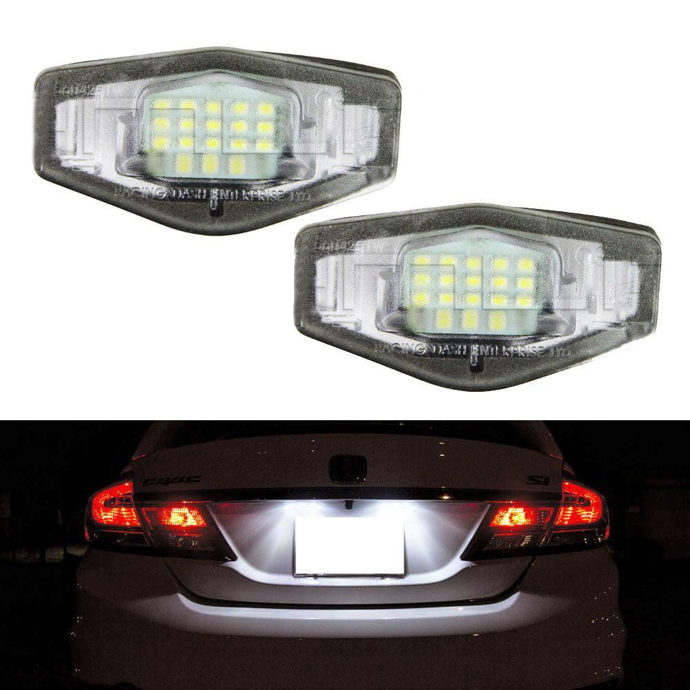 Partsam 2PCS 6000K White License Plate Light Assembly 12V 18-SMD LED Lamp Bulbs Replacement for Honda Civic Pilot Accord Odyssey Acura MDX RL TSX ILX RDX