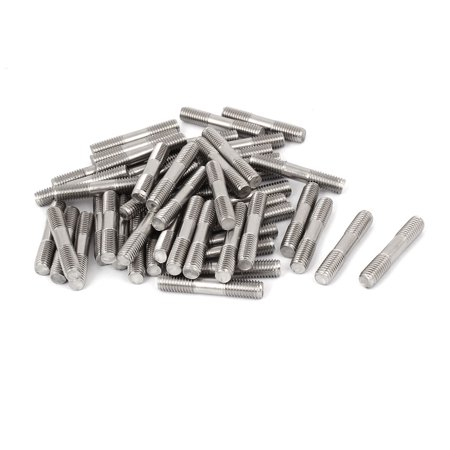 Uxcell M8x45mm 304 Stainless Steel Double End Thread Stud Teeth Rod Silver Tone (50-pack)