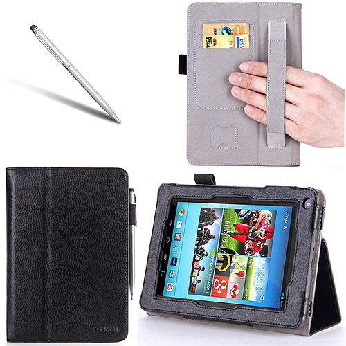 i-Blason Slim Book Hisense Sero 7 LT Leather Case Cover with Bonus Stylus, Black