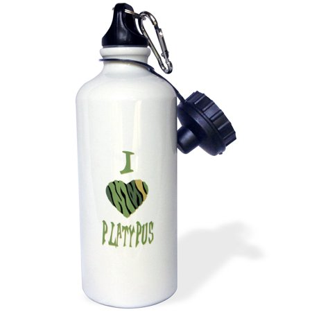 Platypus Bottle (3dRose  Camo Colored Striped I Love Platypus, Sports Water Bottle, 21oz)