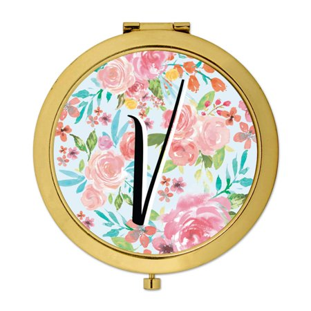 Andaz Press Compact Mirror Bridesmaid's Wedding Gift, Gold, Monogram Letter V, Tea Party Pink Floral Flowers, 1-Pack