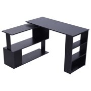 HOMCOM 360° Rotating Home Office Corner Desk and Storage Shelf Combo Modern L Shaped Rotating Computer Desk with Bookshelves