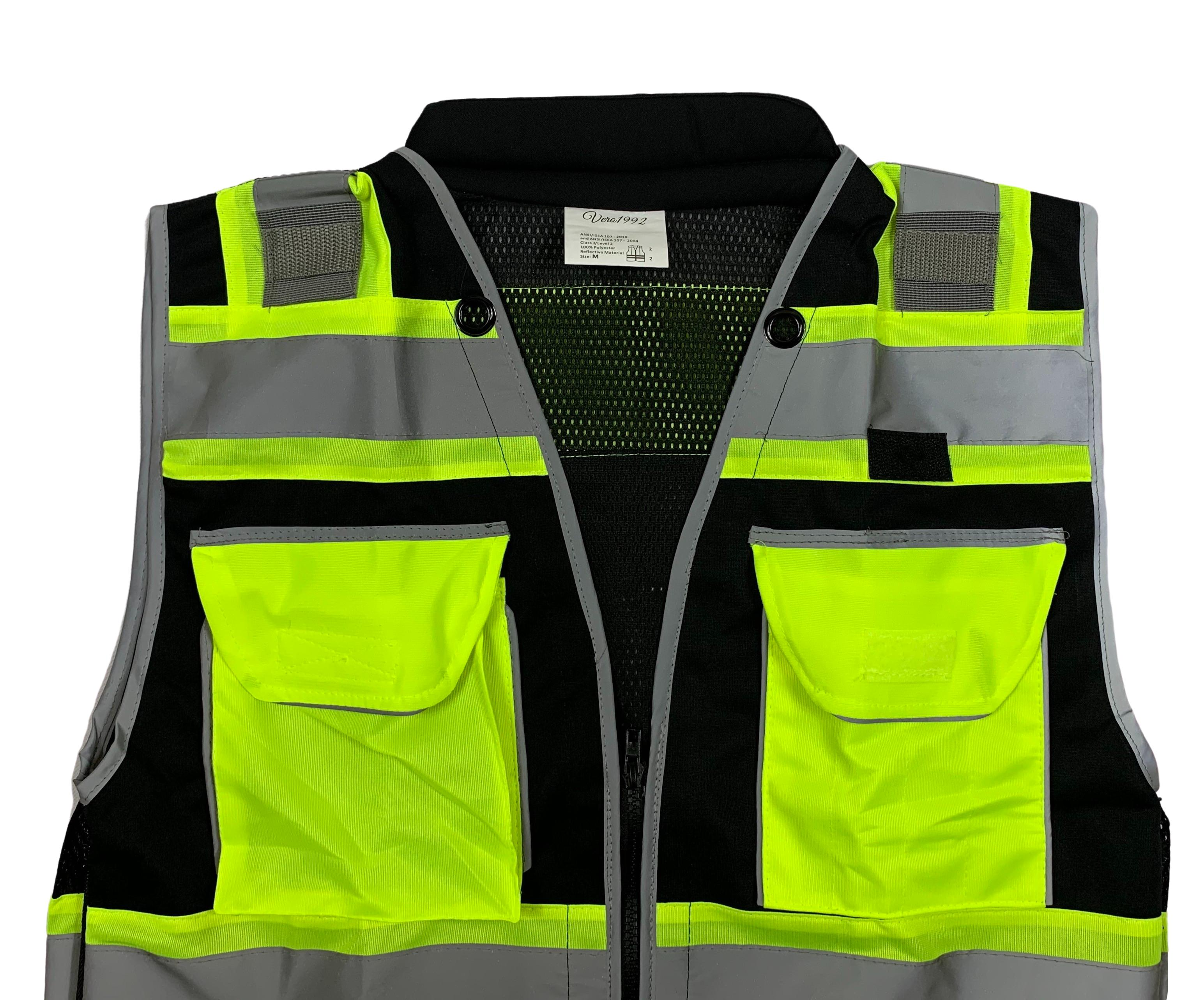 Medium, Black//Yellow Vero1992 E Engineer Safety Vest High Visibility Reflective Black Series Mesh with Zipper and pockets