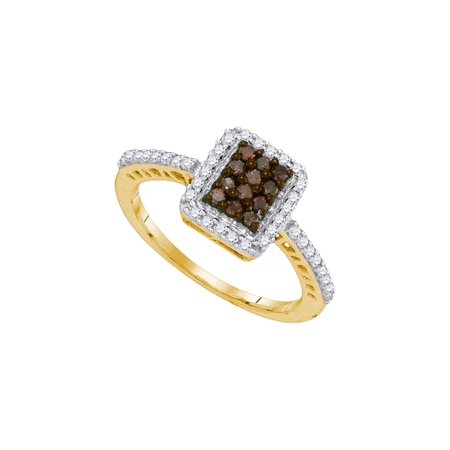 10kt Yellow Gold Womens Round Cognac-brown Colored Diamond Rectangle Frame Cluster Ring 3/8 Cttw