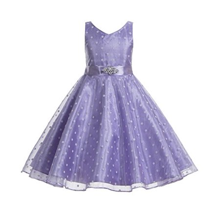 Pageant Polka Dot - Ekidsbridal Polka Dot V-Neck Rhinestone Organza Flower Girl Dress Pageant Dresses Princess Dresses Ballroom Gown Special Occasion Dresses Toddler Girl Dresses Evening Gown Junior Bridesmaid Dress 184S