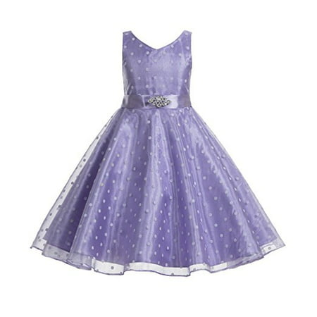 6ba49fe1f3 Ekidsbridal Polka Dot V-Neck Rhinestone Organza Flower Girl Dress Pageant  Dresses Princess Dresses Ballroom