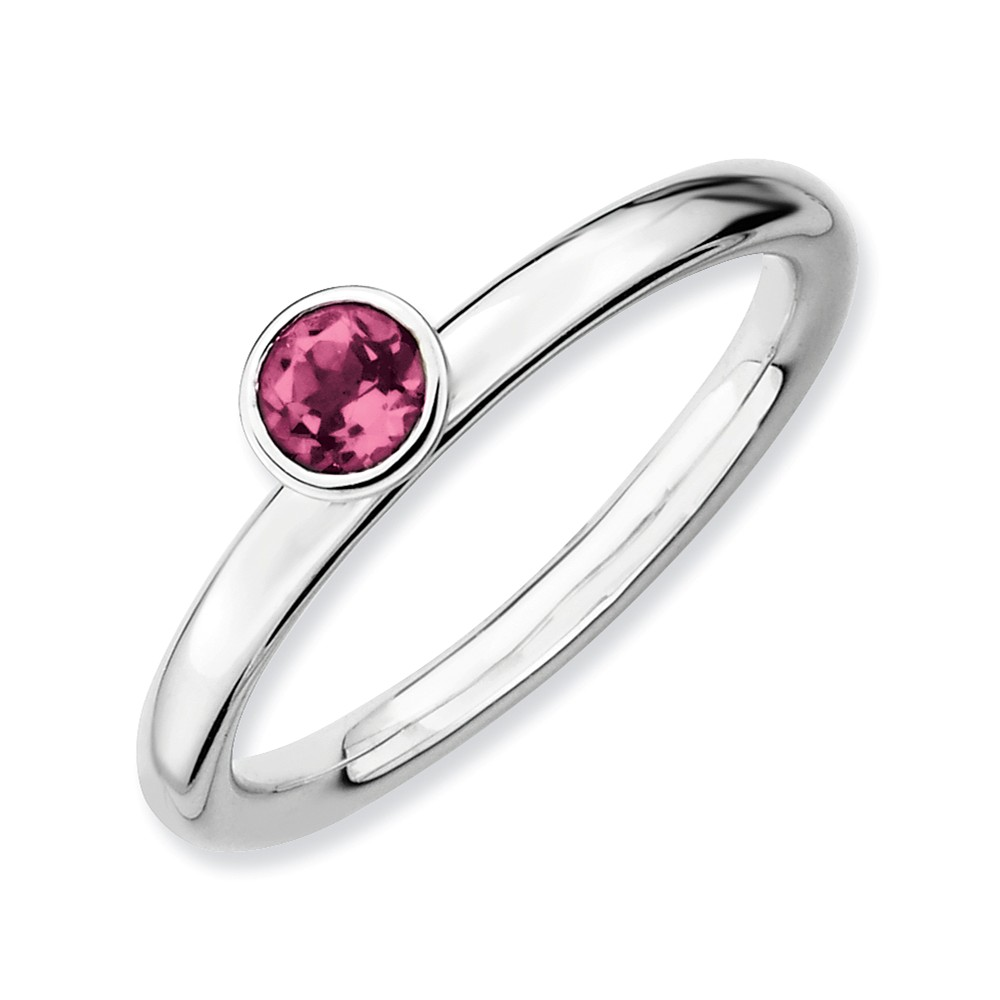 IceCarats 925 Sterling Silver High 4mm Round Pink Tourmaline Band Ring Size 7.00 Stone Stackable Gemstone Birthstone... by IceCarats