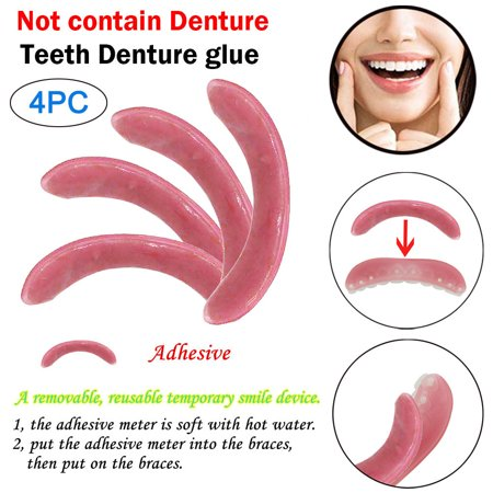 Tuscom 4Pcs Comfortable Natural Cosmetic Fake Tooth Cover Snap On Silicone Perfect Smile Veneers Teeth Toothbrush Set Upper Beauty Tool Teeth Denture Glue(Contain only Glue Bar)