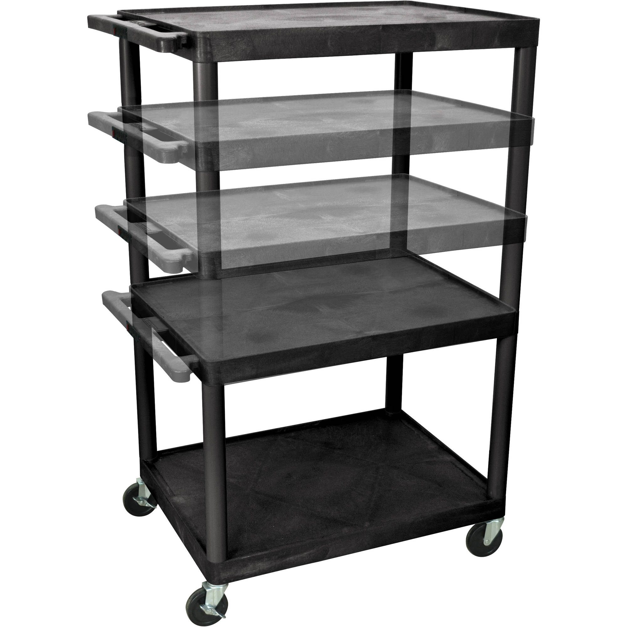 Luxor 3-Shelf Multi-Height A/V Cart, Black